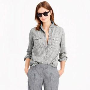 J. Crew Gray & White Polka-Dot Flannel Shirt